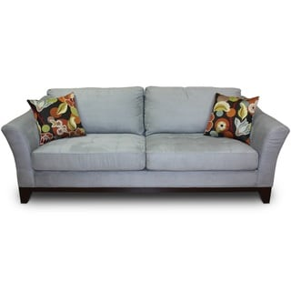 Porter Avalon Powder Blue Sofa with Woven Floral Accent Pillows on Closeout
