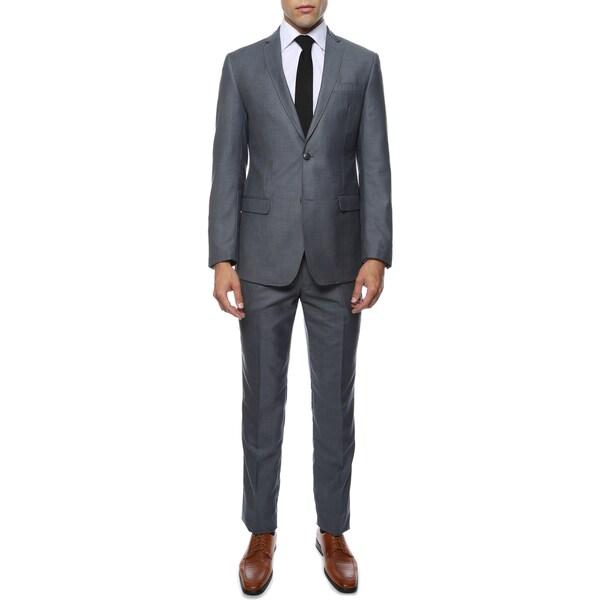 Zonettie Men's Etro Grey-Blue Slim Fit 2-Piece Notch Lapel Suit