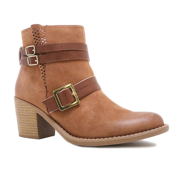 QUPID TOBIN-04 Women's Belted Chunky Ankle Booties