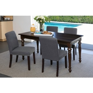 Portfolio Madelyn Basil Grey Linen Upholstered Armless Dining Chairs (Set of 2)