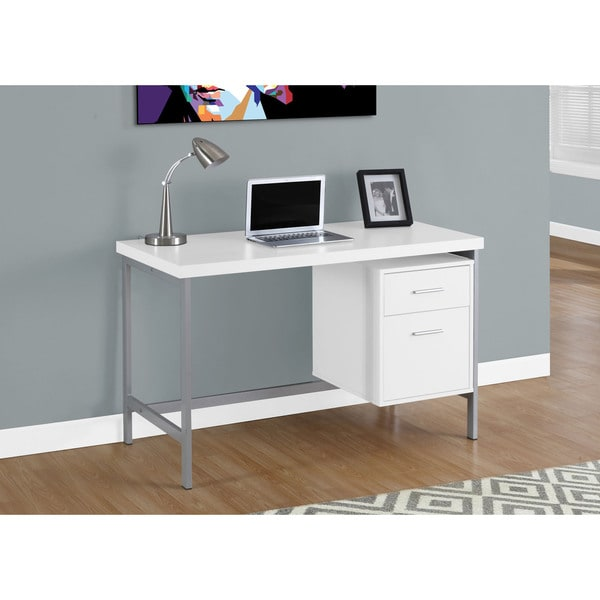 White And Silver Metal 48 Inch Computer Desk 17975981