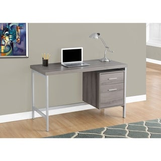 Dark Taupe and Silver Metal 48-inch Computer Desk