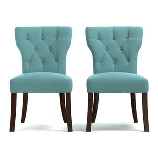 Portfolio Sirena Turquoise Blue Velvet Upholstered Armless Dining Chairs (Set of 2)