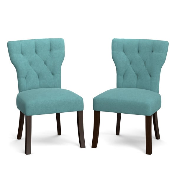 Portfolio sirena turquoise blue velvet upholstered armless dining chairs set of 2 17975993 - Turquoise upholstered dining chair ...