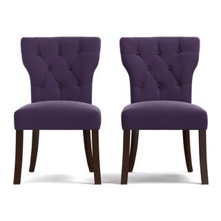 Portfolio Sirena Plum Purple Velvet Upholstered Armless Dining Chairs (Set of 2)