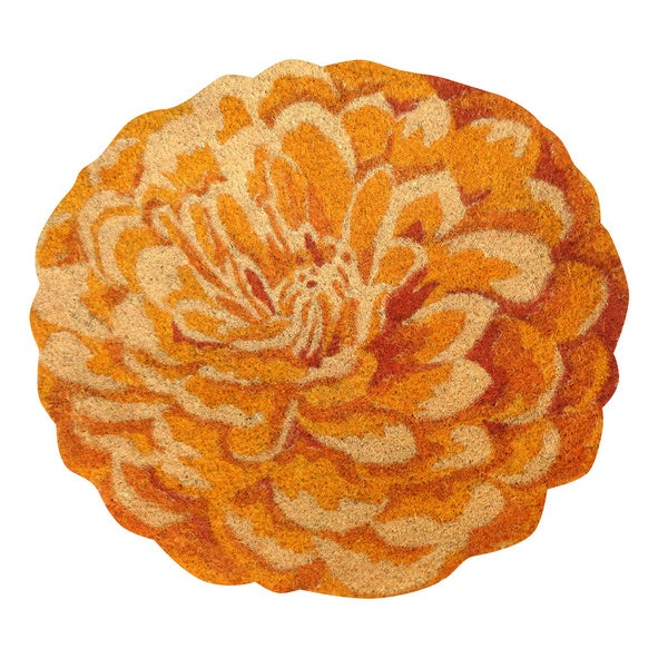 Marigold Flower Shaped Vinyl Backed Coir Door Mat
