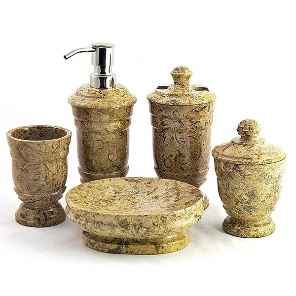 Nature Home Decor Fossil Stone 5 Piece Bathroom Accessory Set Of