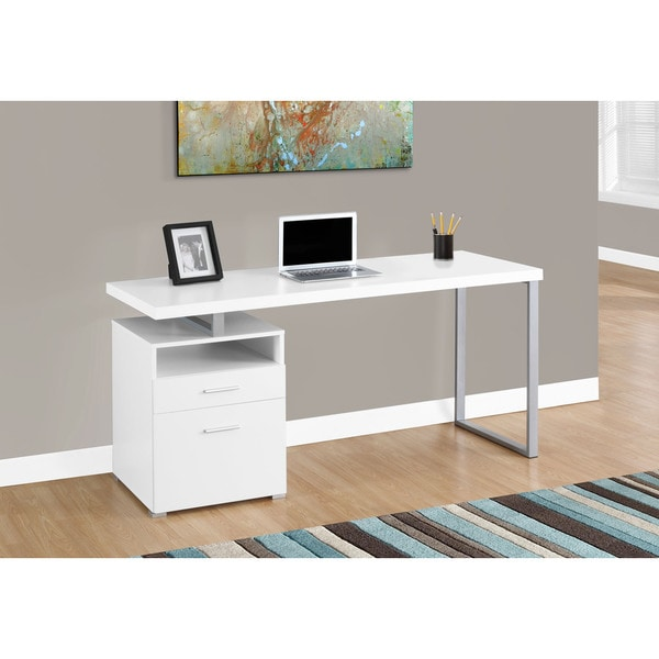 White And Silver Metal Computer Desk 17976077