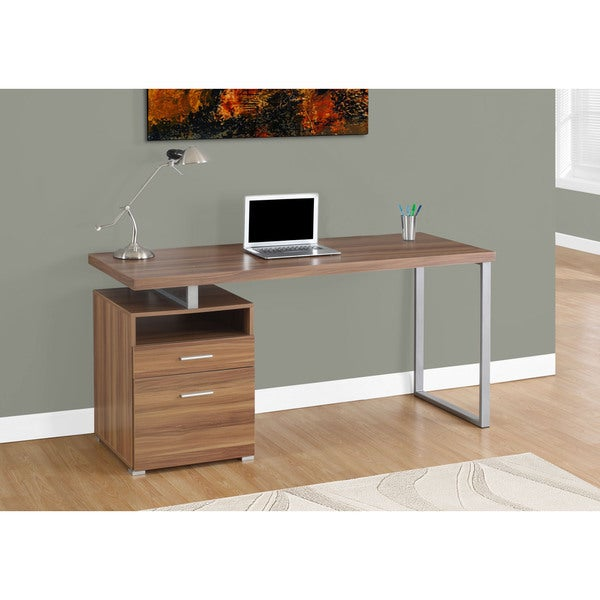 Computer Desk/Walnut/Silver Metal/ 60 inches long - 17976079