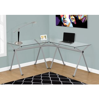 Silver Metal with Tempered Glass Computer Desk