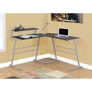 Computer Desk, Cappuccino Top, Silver Metal