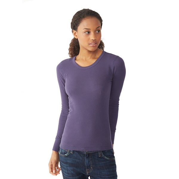Alternative Apparel Women's Purple Thermal Long Sleeve Crew