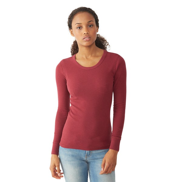 Alternative Men's Thermal Red Long Sleeve Crew