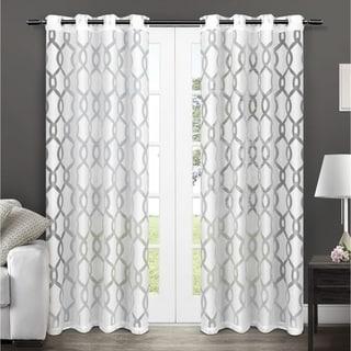 ATI Home Rio Burnout Sheer Grommet Top Curtain Panel Pair