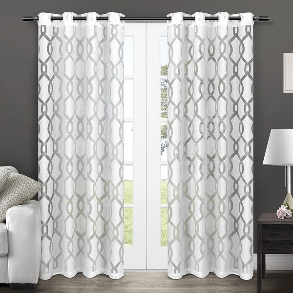 "Rio Burnout Sheer Grommet Top Window Curtain Panels - 54"" X 84"", Sold as Set of 2 / Pair"