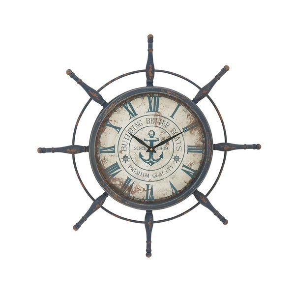 Metal Ship Wheel Wall Clock