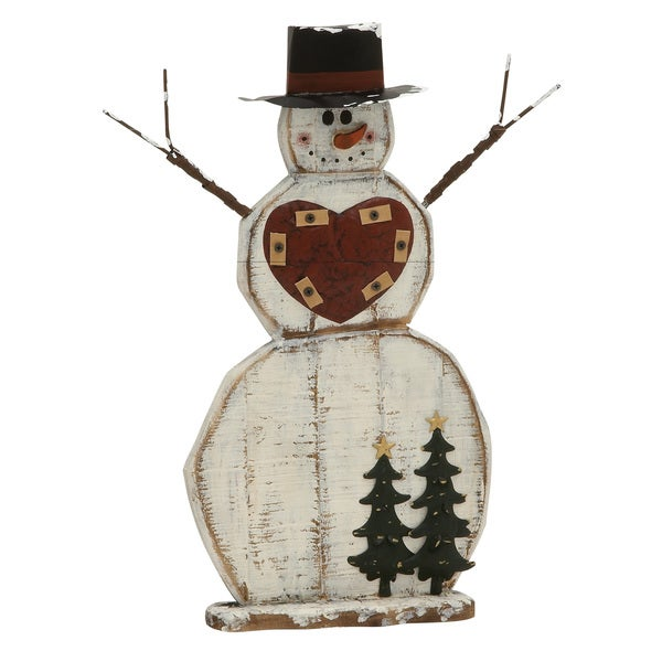 Captivating Wood Metal Snowman