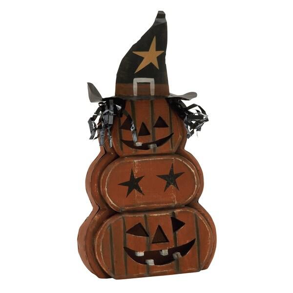 """Wood Metal Pumpkin Ghost 11""""W, 21""""H"""