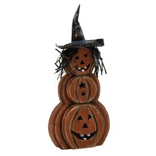 """Wood Metal Pumpkin Ghost 12""""W, 27""""H"""