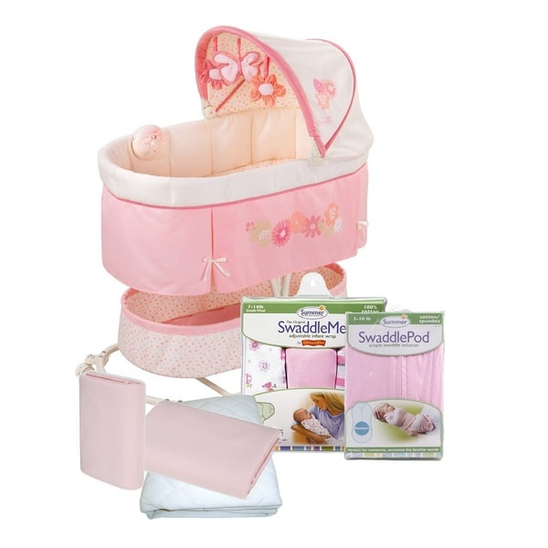 Summer Infant Soothe, Sleep and SwaddleMe Newborn Bassinet with Sleep Solutions in Flowers and Bugs
