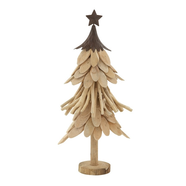 "Wood Metal Xmas Tree 10""W, 21""H"