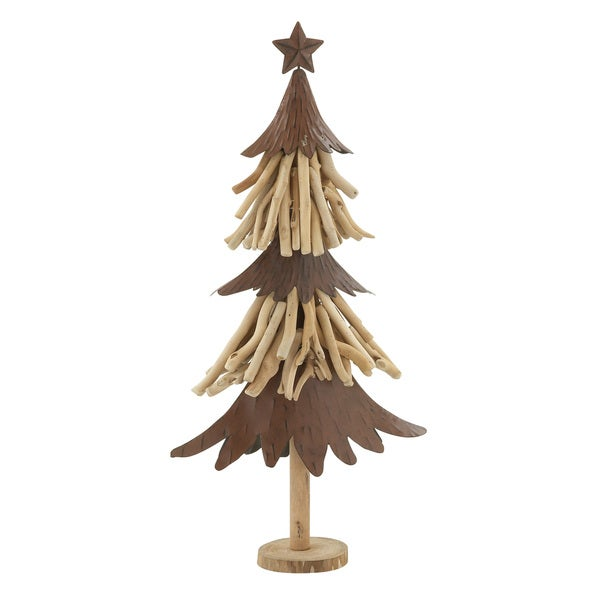 "Wood Metal Xmas Tree 14""W, 27""H"