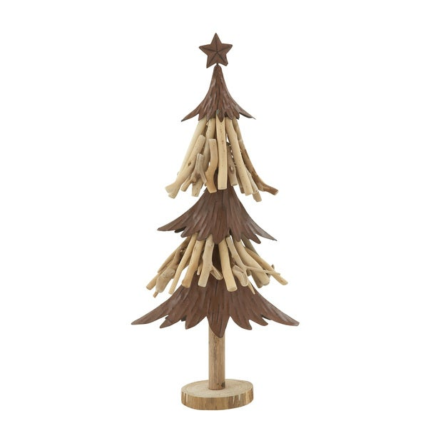 "Wood Metal Xmas Tree 10""W, 23""H"