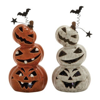 Ceramic Led Pumpkin 2 Assorted