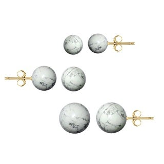 Pori 14k Yellow Gold Howlite Ball Stud Earrings