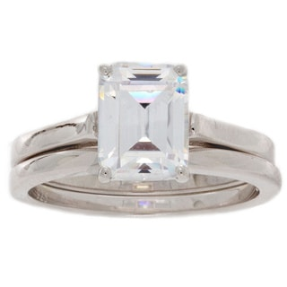 NEXTE Jewelry Sterling Silver Emerald Cut Bridal Set With Band