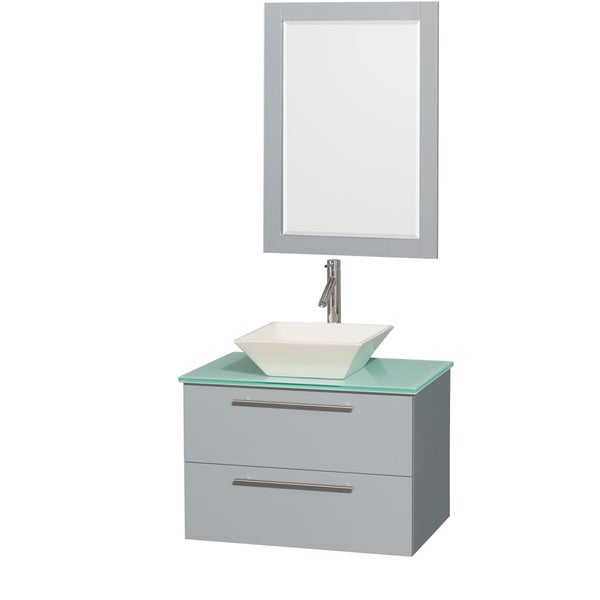 Wyndham Collection Amare Dove Grey Green Glass Top 30-inch Single Vanity with 24-inch Mirror