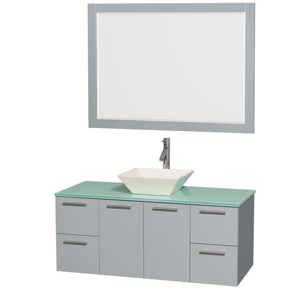 Wyndham Collection Amare Dove Grey Green Glass Top 48-inch Single Vanity with 46-inch Mirror