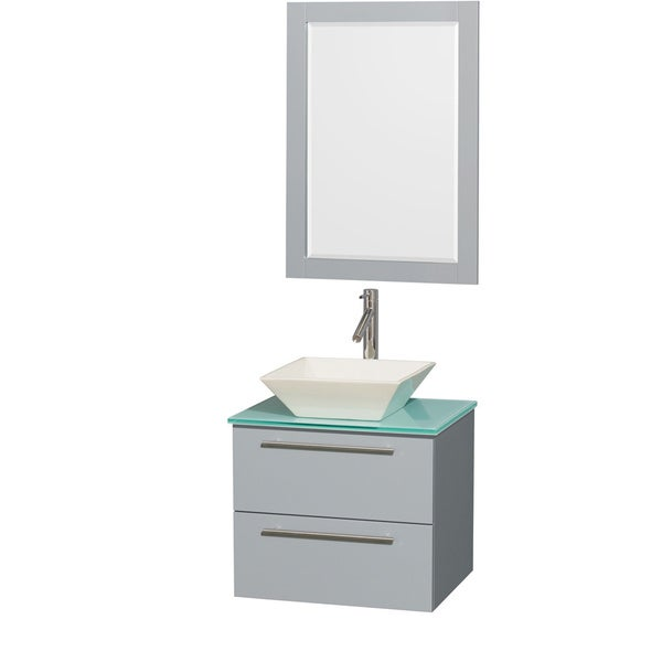 Wyndham Collection Amare Dove Grey Green Glass Top 24-inch Single Vanity with 24-inch Mirror