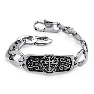 PalmBeach Men's Cross and Shield Bracelet