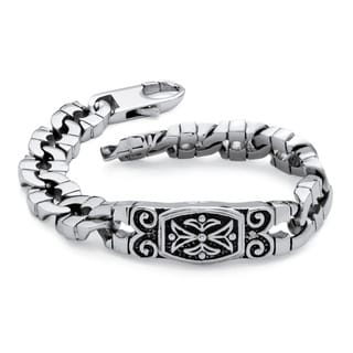Palm Beach Jewelry Men's Curb-Link Tribal Bracelet