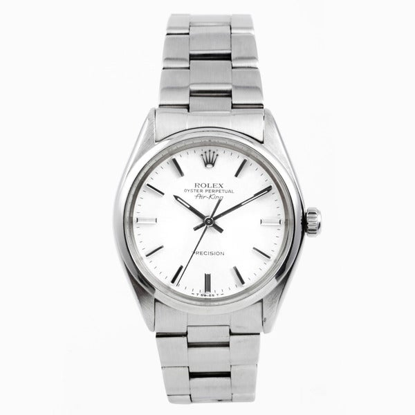 Pre-Owned Rolex Stainless Steel Air-king with a White Stick Dial and Smooth Bezel.