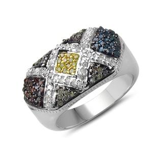 Malaika Sterling Silver 5/8ct TDW Multi Diamond Ring (I-J, I2-I3)