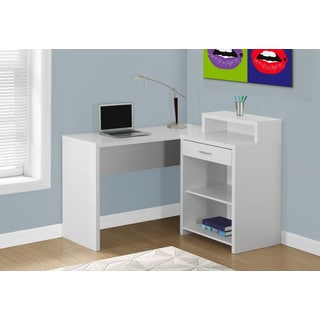COMPUTER DESK - WHITE CORNER WITH STORAGE