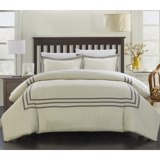 Chic Home Palani Modern Hotel Collection Silver 3-piece Duvet Cover Set