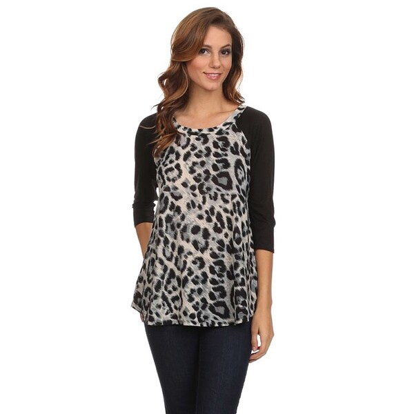 Women's Animal Print 3/4 Sleeve Top