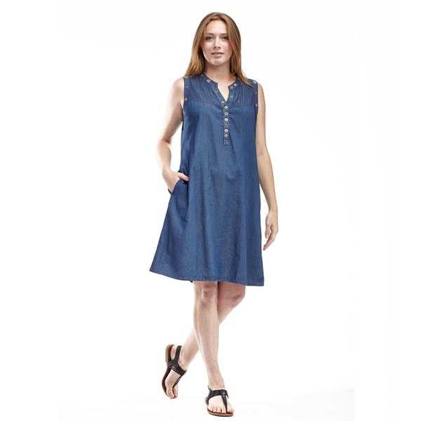 La Cera Women's Embroidered Pin Tuck Dress