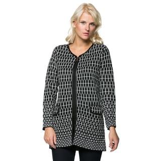 High Secret Women's Knit Black/ White Open Front Cardigan