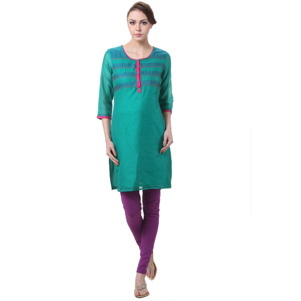 In-Sattva Women's Indian Teal Kurta Tunic with Pink Accents (India)