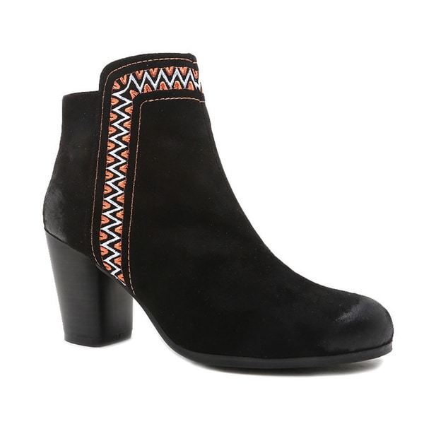 QUPID SAKE-79 Women's Tribal Embroidered Ankle Booties