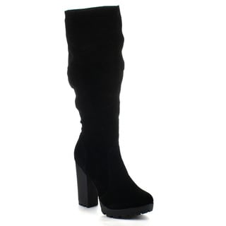 Breckelle's CELINE-13 Women's Chunky Heel Slouched Knee High Boots