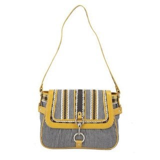 Ivory Tag Striped Patch Leather and Canvas Handbag (India)