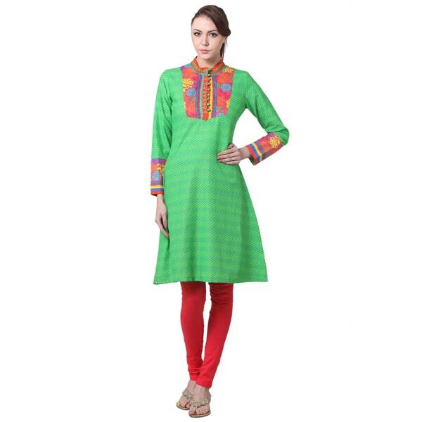 In-Sattva Women's Indian Floral Trim Striped Kurta Tunic (India)