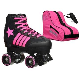 Epic Star Vela Black and Pink High-Top Quad Roller Skates Package