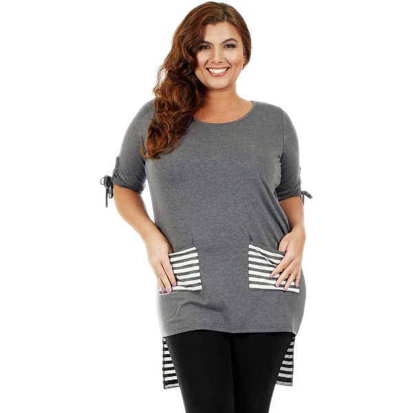 Firmiana Women's Plus Size 3/4-Length Sleeve Grey and White High-Low Tunic