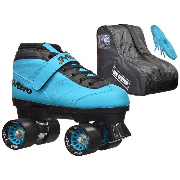 Epic Nitro Turbo Blue Quad Speed Roller Skates Package